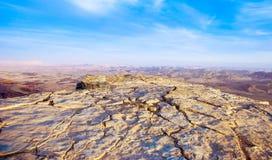 Desert cliff. In Israel overlooking Negev valley Royalty Free Stock Photos