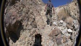 Desert Climb with Dog stock video