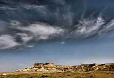 Desert clouds. Clouds above a dry valley in the Negev desert Stock Photo