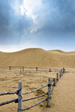 Desert and cloudy sky. It is going to rain in the desert of Kubuq, Inner Mongolia, China Royalty Free Stock Photos