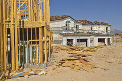 Desert construction of new homes in Clark County, Las Vegas, NV Royalty Free Stock Images
