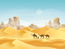 Desert with convoy or camel caravan. Camel convoy with arabic people in desert with mountains. Caravan on desert meadow at sunset, panoramic and outside view on Royalty Free Stock Photos