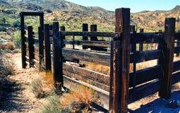 Desert Corral. Old Arizona corral in the desert mountains Stock Photo