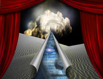 Desert curtain scene opened to another Royalty Free Stock Photography