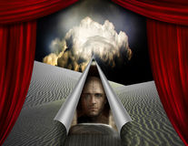 Desert curtain scene opened to another Royalty Free Stock Image