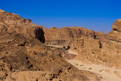 The desert around Dahab. White canyon turns into an oasis. Royalty Free Stock Photo