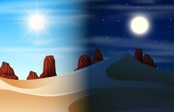 Desert day and night scene vector illustration