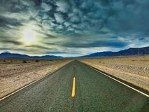 Travel in west america, death valley, lonley road, no cars driving stock photography