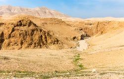 Desert canyon deep gorge landscape scenic view, Israel. Desert deep canyon gorge rock cliffs landscape scenic view, Dead sea tourism destination, travel Israel Royalty Free Stock Image