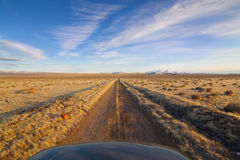 Desert Dirt Road with Hood Royalty Free Stock Photography