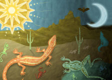 Desert Dreams. Day to night desert illustration with lizards, frog, and coyote Royalty Free Stock Photography