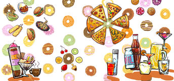 Desert drinks and foods illustration Stock Photos