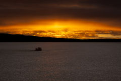 Desert Dry Lake Sunrise Stock Image