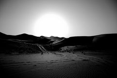 Desert between Dubai and Abu Dhabi. The sun is slowing down Royalty Free Stock Photos