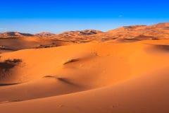 Desert dune at Erg Chebbi near Merzouga in Morocco. Royalty Free Stock Photos