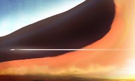Desert dune illustration digital concept art 3D effect Royalty Free Stock Photo
