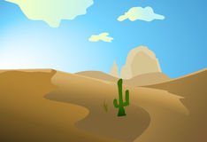 Desert with dunes cactus Stock Image
