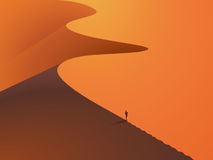 In a desert dunes with a man in the foreground. Sunset landscape. Vector illustration stock illustration