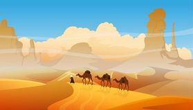 Desert dunes vector egyptian landscape background. Camel caravan with arabic people in desert landscape. Desert mountains sandstone background. Sahara nature Stock Photos