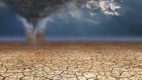 Desert Dust Devil. On dried mud