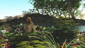 Desert dweller shelters in oasis. Man in turban and desert robes in lush vegetation around water in oasis with desert dunes in the background Royalty Free Stock Images