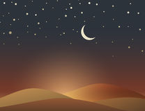 Desert evening scene with crescent and stars Stock Images