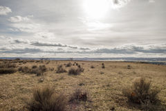 Desert field landscape and cloudy sky Royalty Free Stock Photos