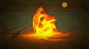Desert fire. Surrealism. Mystic fire in a desert Royalty Free Stock Photo