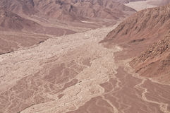 Desert Flood Plain, Nasca. Desert scenery in Nasca, Chile with dry valley and flood plain stock photo