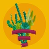 Desert flowers. Exotic plant, bush, palm tree, cactus vector set Stock Photos