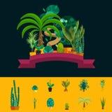 Desert flowers. Exotic plant, bush, palm tree, cactus vector set Royalty Free Stock Photography