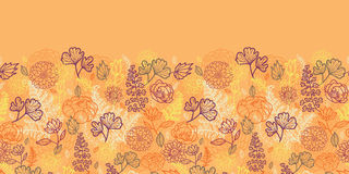 Desert flowers and leaves horizontal seamless Royalty Free Stock Images