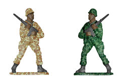 Desert and forest camouflage soldiers Stock Photography