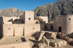 Desert fortress. Courtyard of a desert fortress with towers and walls surround it Stock Photography