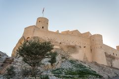 Desert fortress. On a rocky hill Royalty Free Stock Photos