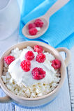 Desert. Fresh cottage with raspberry and sour cream Stock Images