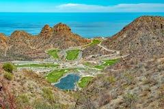 Desert golf course green by the sea Stock Photos