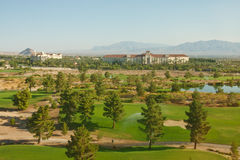 Desert Golf Course with Resort in Backgound Stock Photography