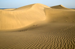 The desert in Gran Canaria with with wave pattern Stock Photography