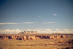 The desert and the Grand Canyon. This picture taken in the summer, shows a blue sky is a few clouds in the distant horizon and the desert of Death Valley stock photography