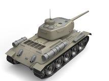 Desert gray old military tank - back view vector illustration