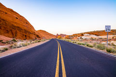 Desert Highway. Valley of Fire Road at Valley of Fire State Park, Nevada, USA Stock Images