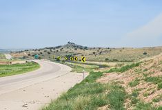 Interstate 40 new mexico USA. Desert highway hot dry bright day with empty roadway in new mexico usa . This is a major transportation artery in the west of the stock photography