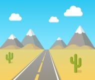 Desert highway landscape Stock Photos
