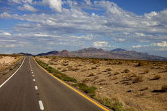 Desert Highway. Long strait highway through the Arizona desert Stock Photo