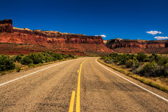 Desert Highway. A two lane road in Canyonlands National Park near Moab Utah Royalty Free Stock Images