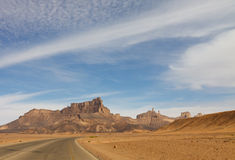 Desert Higway, Akakus (Acacus) Mountains, Libya. Desert Higway along Jabal Idinin, Akakus (Acacus) Mountains, Sahara, Libya stock images