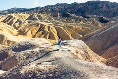 Desert Hiking. Golden Canyon View from Zabriskie Point, Death Valley National Park stock photo