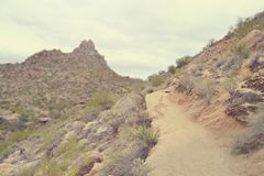 Desert Hiking Trail - Miniature, Tilt-Shift Effect Stock Photography