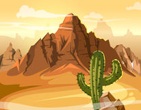 Desert hills, cactus near big mountain. Vector yellow background illustration Stock Photos